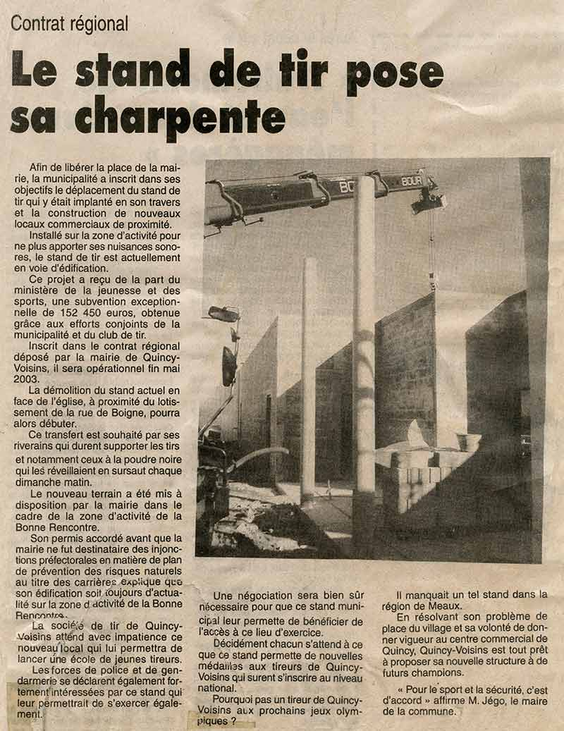 2003 Article journal construction nouveau Stand de Tir de Quincy-Voisins